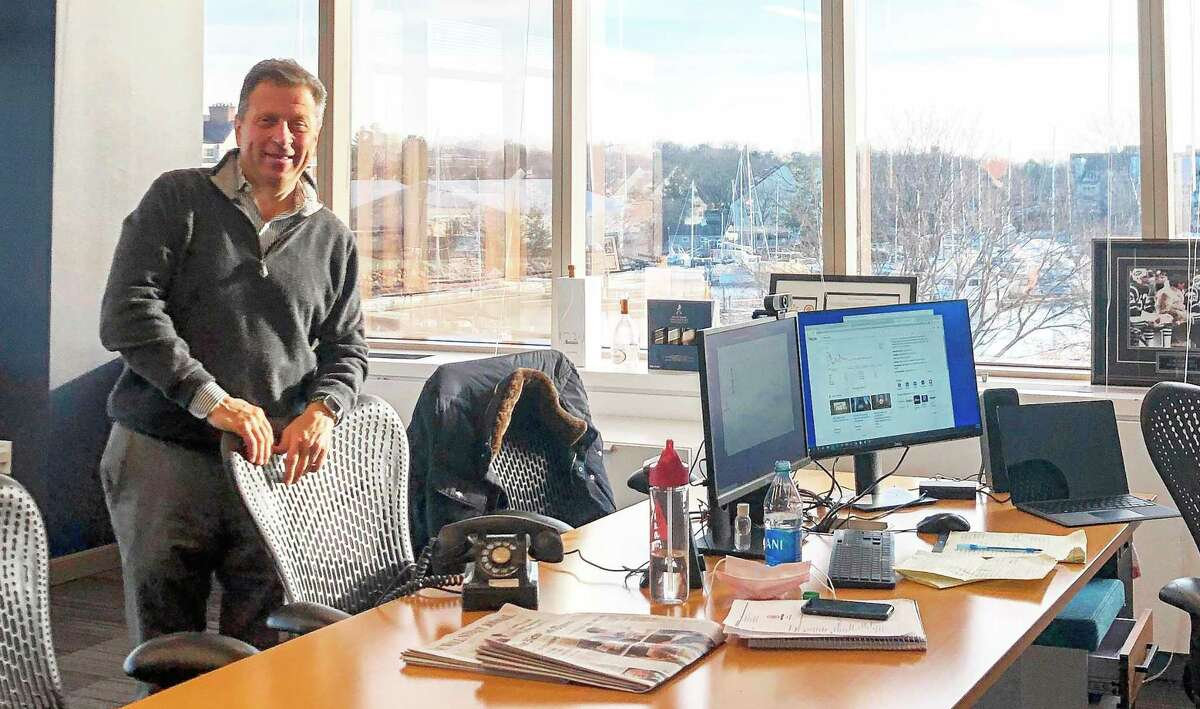 Point Pickup Technologies CEO Tom Fiorita in the company's new office in Stamford, Conn. (Photo courtesy Point Pickup Technologies)