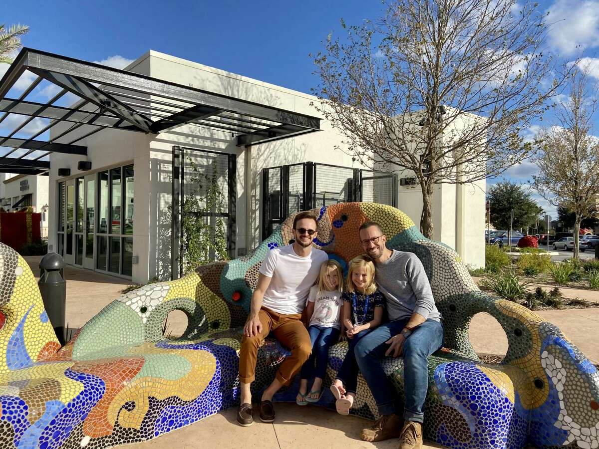Co-owners Anthony Sobotik and Chad Palmatier with nieces Brooke and Cassidy in front of new San Antonio location.
