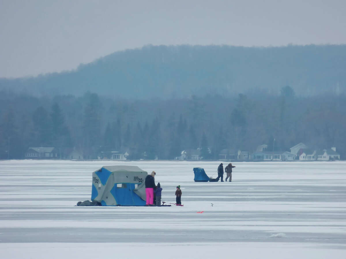 Anglers take to the ice on Bear Lake this month.