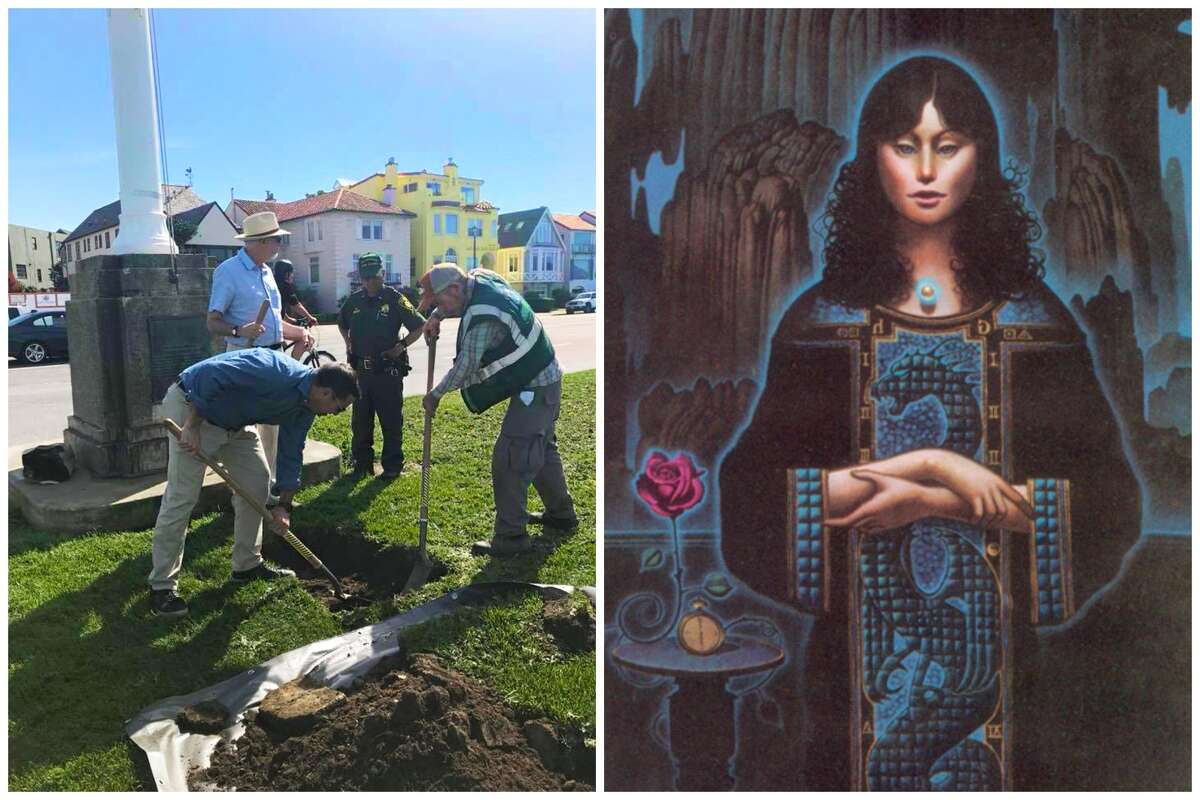 A photo of a dig for buried treasure in Golden Gate Park, alongside a cropped version of the illustration that serves as a clue to its location.
