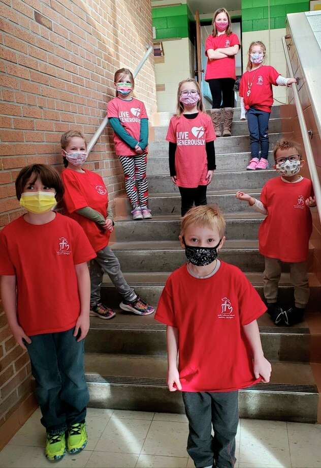 Trinity Lutheran School students sport their Trinity T-shirts for Spirit Day Monday as part of the school's Lutheran Schools Week celebration. (Courtesy photo)