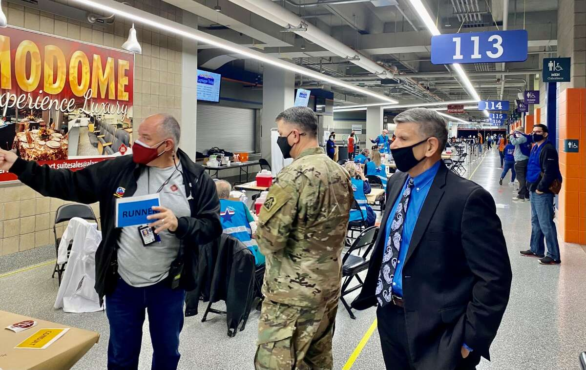 """U.S. Army officials toured the Alamodome's vaccination site this week and left feeling """"impressed"""" by the operation, according to the San Antonio Metropolitan Health District"""