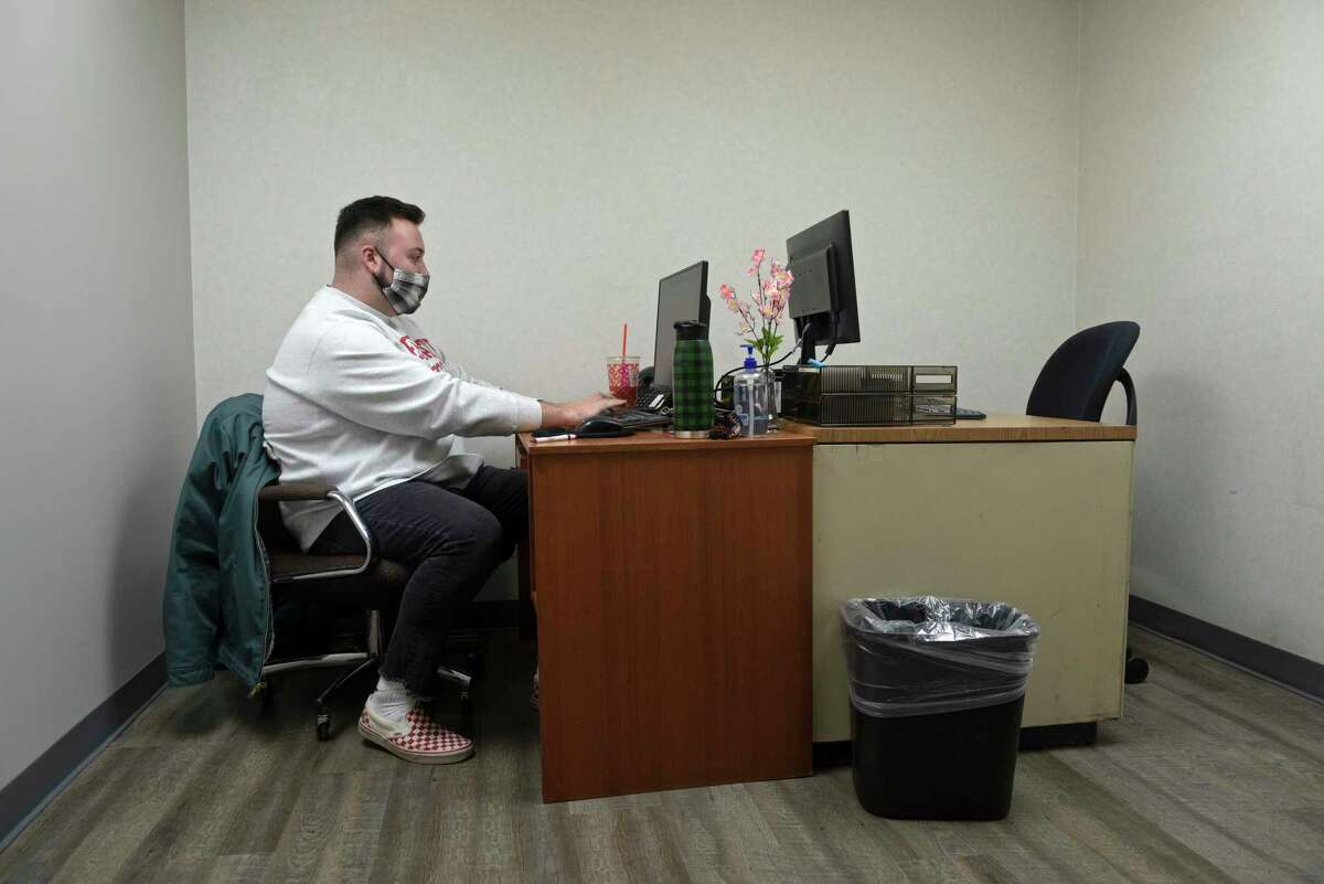 Andrew Reilly, a community outreach worker, in his office at Apex Community Care, a Danbury nonprofit. Apex is buying a 4-story medical building, 16 Hospital Avenue, and applying to the state for a $1.3 million grant. Friday, January 29, 2021, in Danbury, Conn.