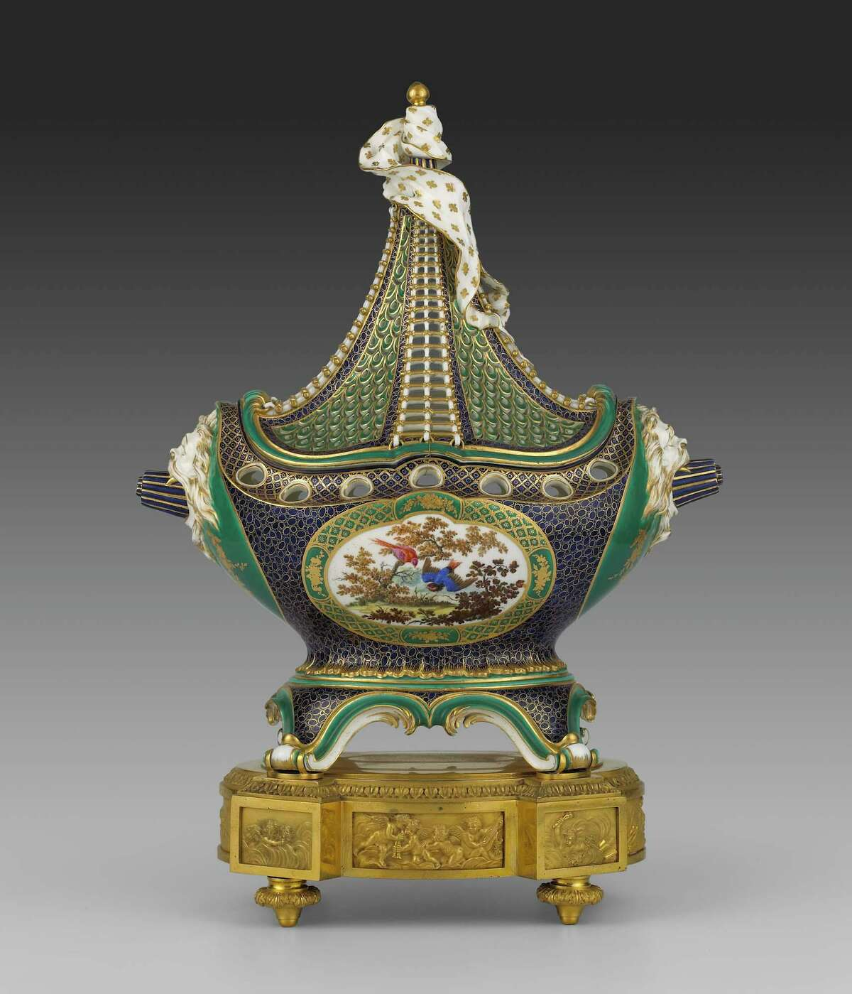 A potpourri vase in the shape of a masted ship, which is one of a set of three, circa 1759, from The Frick Collection.