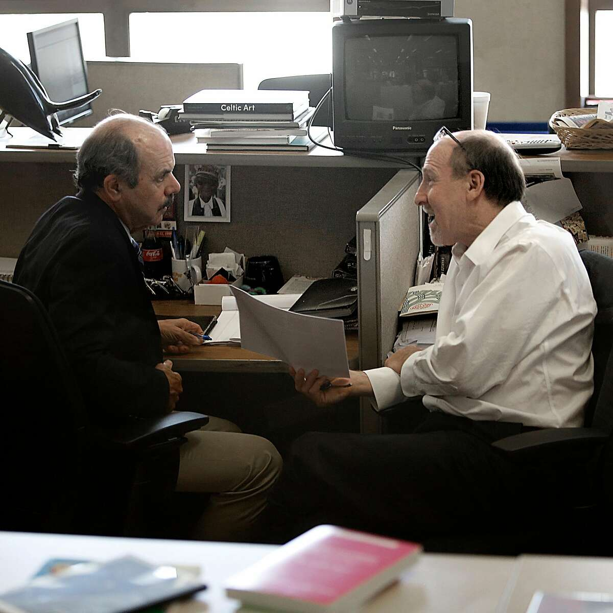 San Francisco Chronicle columnists Phil Matier (left) and Andy Ross in 2015.