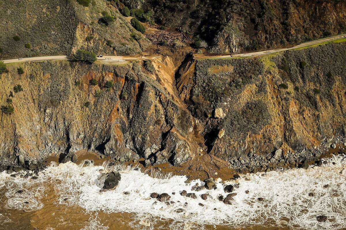 Highway 1 is destroyed near Rat Creek after a landslide and heavy rains came through the area on Friday, Jan. 29, 2021 in Big Sur, California.
