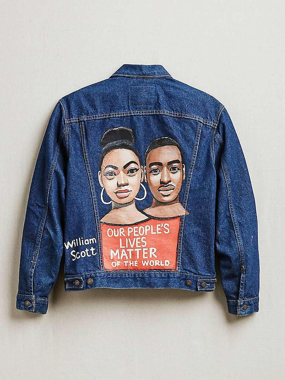 Levi's x Creative Growth fashion collaboration featuring work by artist William Scott on a vintage trucker jacket.