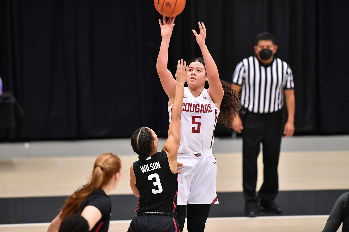 Stanford guard Anna Wilson (3) defends Washington State guard Charlisse Leger-Walker, who was held to two points.
