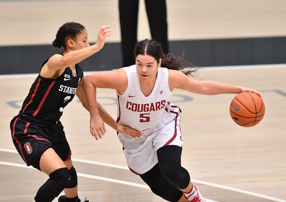 Stanford guard Anna Wilson defends Washington State guard Charlisse Leger-Walker during Friday's game in Pullman, Washington.