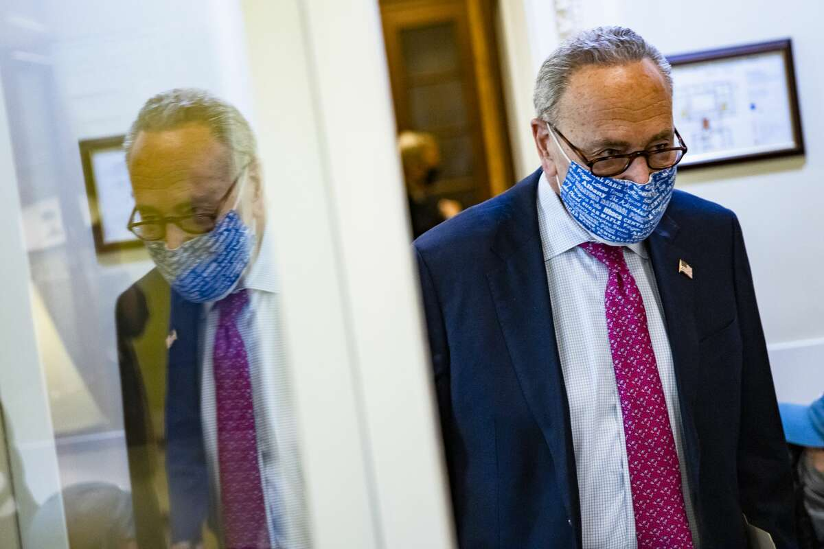 WASHINGTON, DC - JANUARY 26: Senate Majority Leader Chuck Schumer (D-NY) heads to a press conference in the Capitol building on January 26, 2021 in Washington, DC. (Photo by Samuel Corum/Getty Images) *** BESTPIX ***