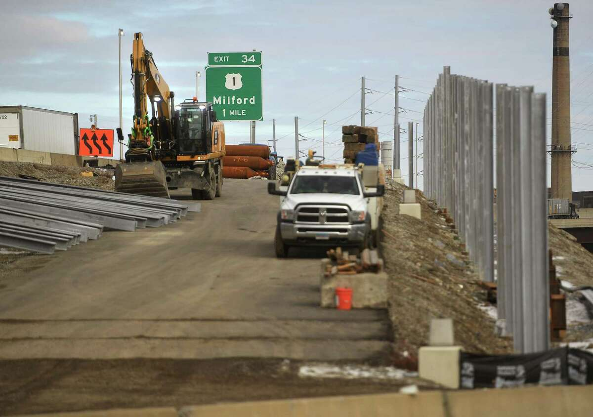 The northbound onramp for I-95 exit 33 is under construction in Stratford, Conn. on Thursday, January 28, 2021.