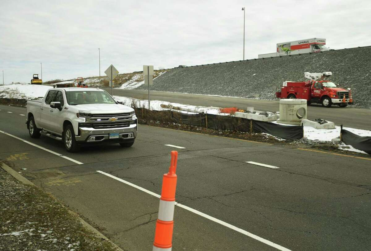 The southbound exit ramp for I-95 exit 33 is under construction in Stratford, Conn. on Thursday, January 28, 2021.