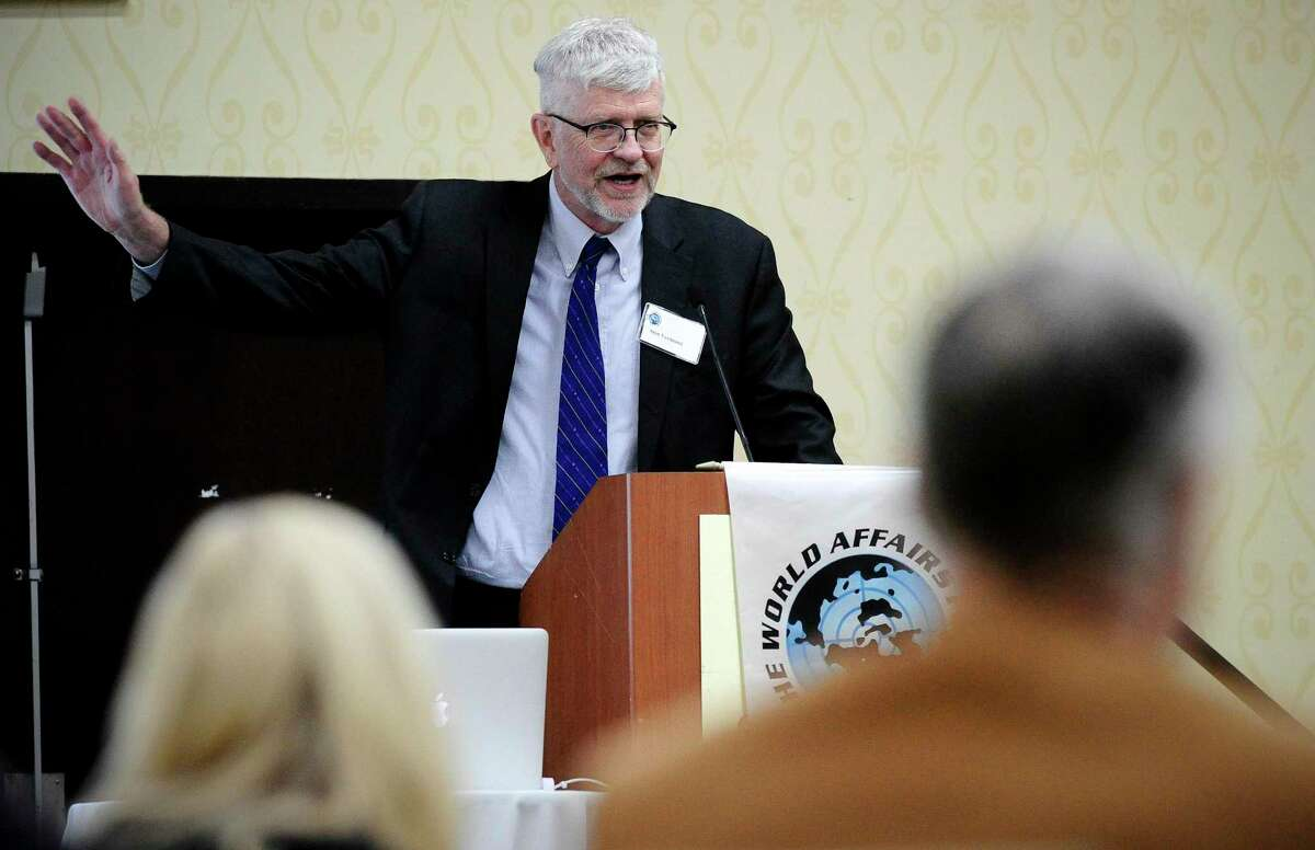 Dr. Sten Vermund of Yale School of Medicine speaks at the Stamford Sheraton on March 11, 2020.