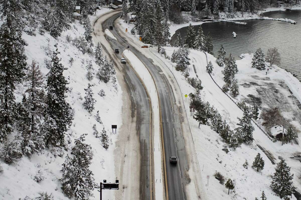 AFTER: Motorists on Highway 50 drive toward South Lake Tahoe, Calif., after a large winter storm left several feet of snow over the previous few days on Jan. 29, 2021.