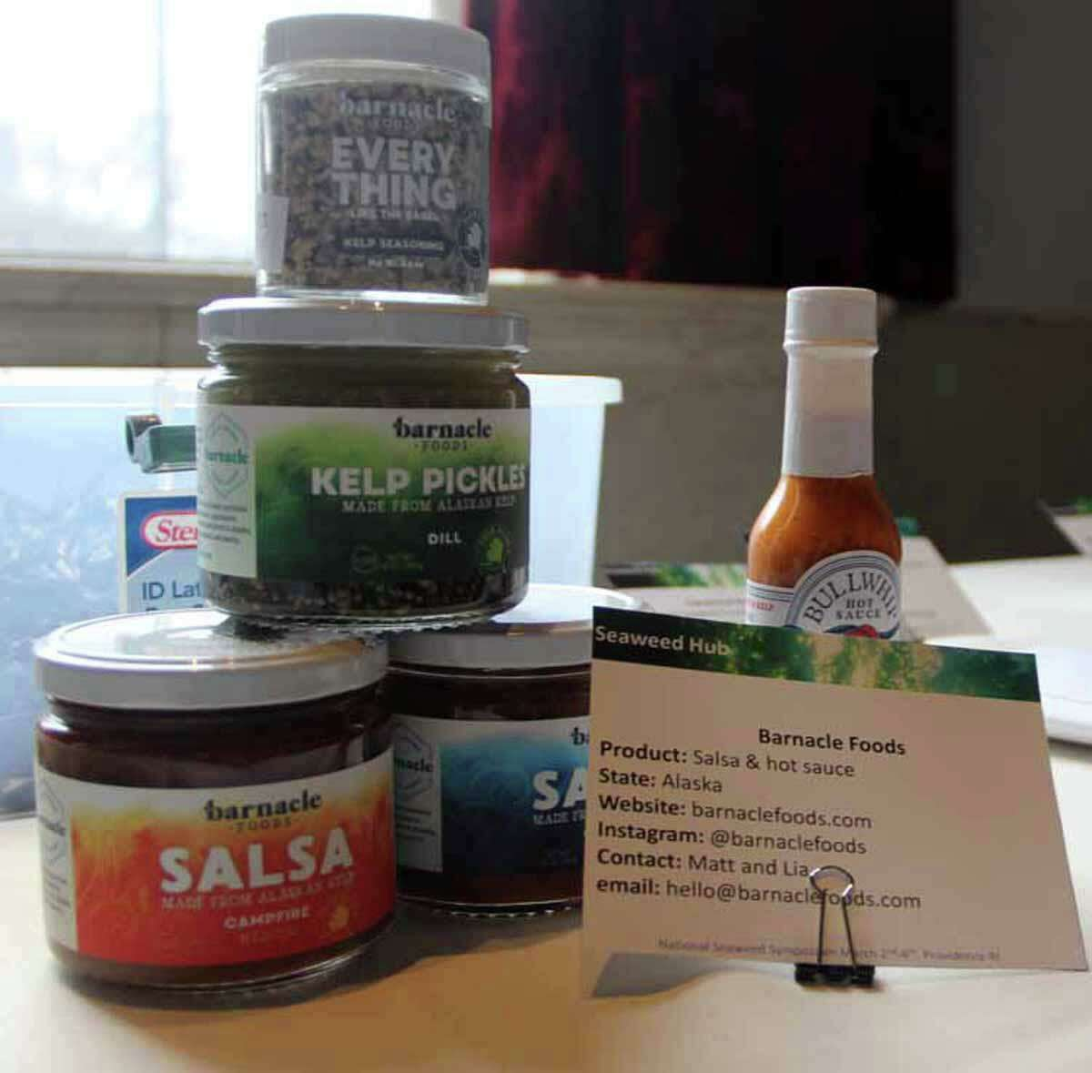 Products made by Barnacle Foods using Alaskan kelp are among those on display at the Seaweed Showcase during the March 2020 Seaweed Symposium.