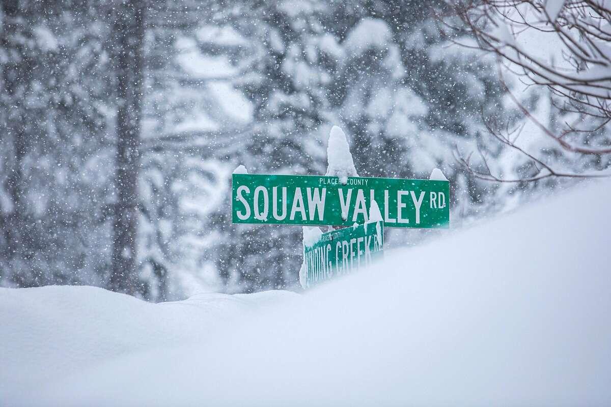 A heavy snowfall coats Tahoe City, Calif. during a heavy winter storm on Jan. 28, 2021.
