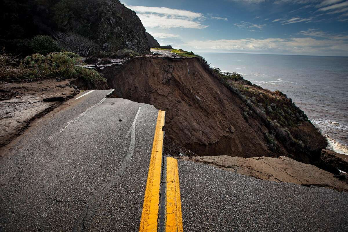 A section of Highway 1 is collapsed following a heavy rainstorm south of Big Sur on Friday Jan. 29, 2021.