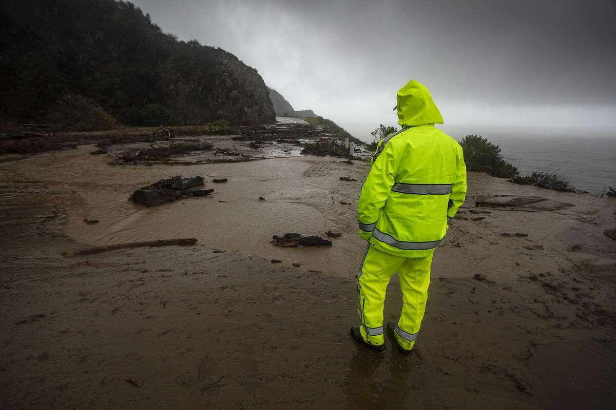 Post fire mud and debris flows, in Big Sur, California. A section of Highway 1 is collapsed following a heavy rainstorm south of Big Sur on Friday Jan. 29, 2021.