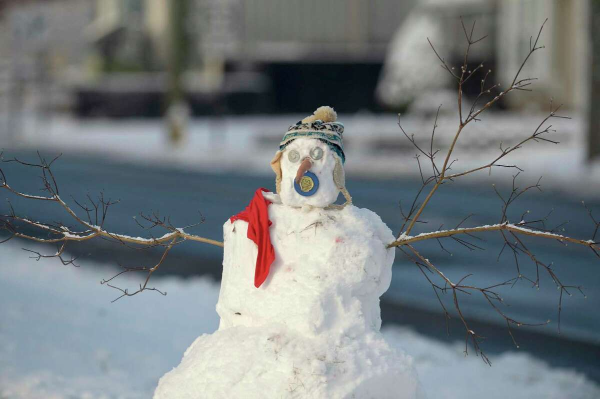 A snow sculpture appeared on South Street after snow fell across the area Sunday night. Monday morning, January 4, 2021, in Danbury, Conn.