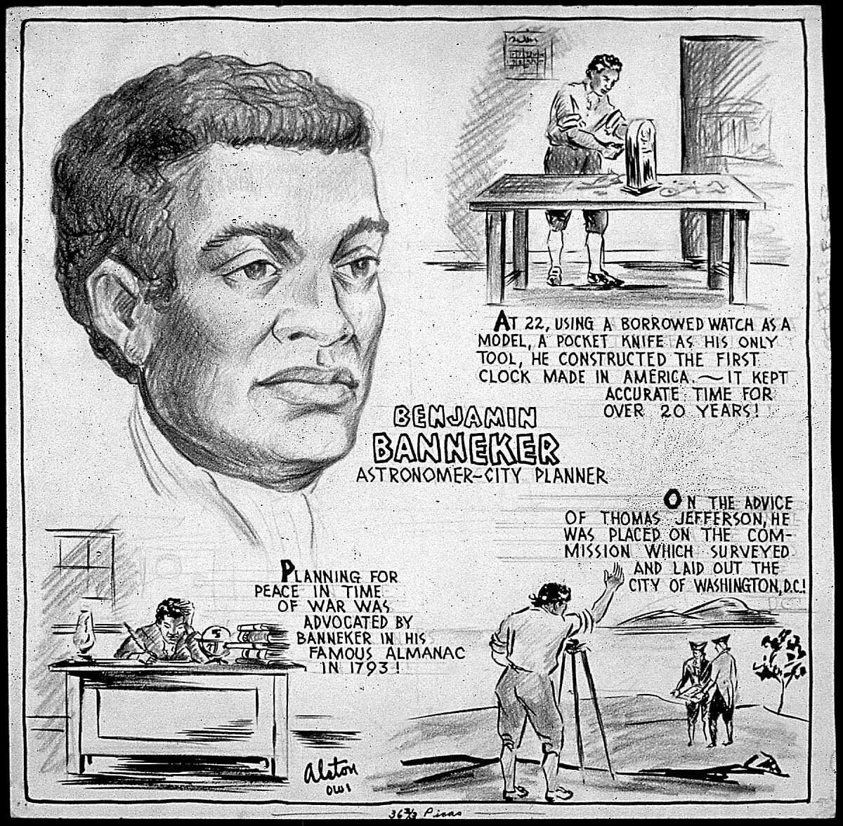 Benjamin Banneker was an astronomer and city planner. Artist Charles Henry Alston created this drawing circa 1943. (Courtesy photo/National Archives)