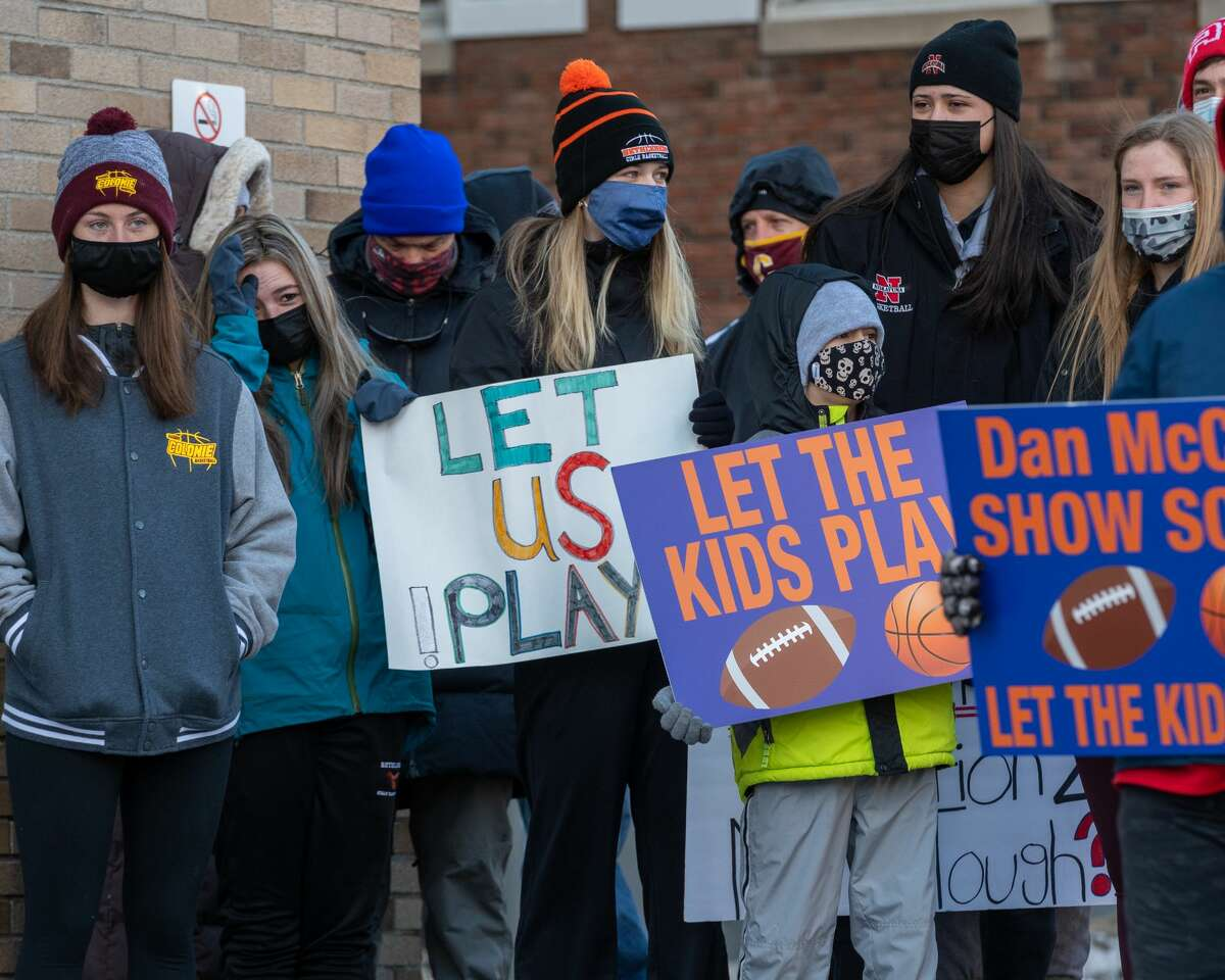 Student athletes, parents and coaches rally outside the Albany County office building on State Street on Saturday, Jan.30, 2021, calling on County Executive Dan McCoy to allow so-called high risk sports to begin (Jim Franco/Special to the Times Union.)