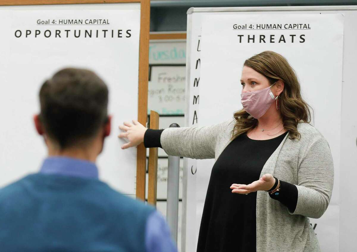 Madeley Ranch Elementary Principal Shelby Smith leads a breakout session during Montgomery ISD's Town Hall, Thursday, Jan. 29, 2021, in Montgomery. The district held its first strategic planning meeting to serve as a guide for the district over the next three years.