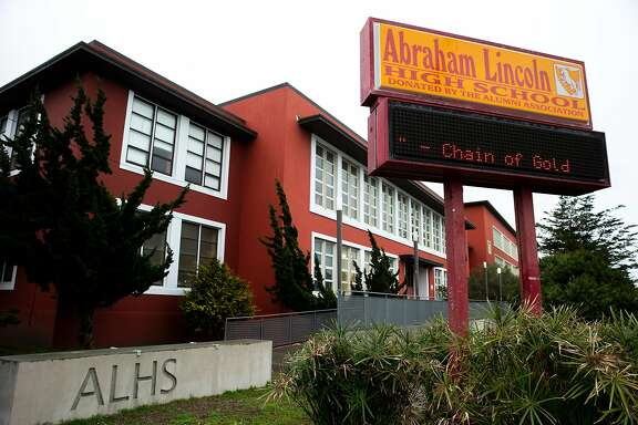 Abraham Lincoln High School, Tuesday, Jan. 26, 2021, in San Francisco, Calif. The S.F. school board voted on renaming 44 schools on Tuesday evening.