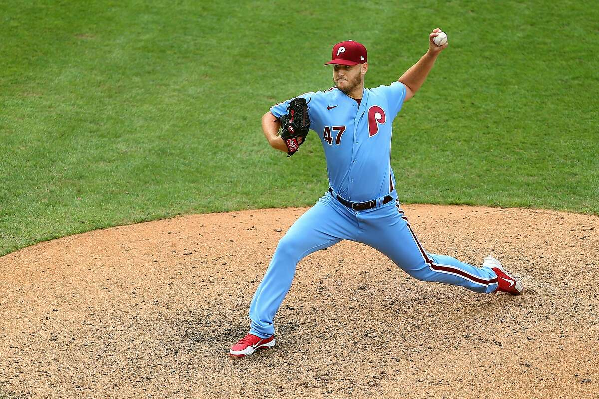 PHILADELPHIA, PA - AUGUST 09: Cole Irvin #47 of the Philadelphia Phillies in action against the Atlanta Braves in game one of a double header at Citizens Bank Park on August 9, 2020 in Philadelphia, Pennsylvania. (Photo by Rich Schultz/Getty Images)