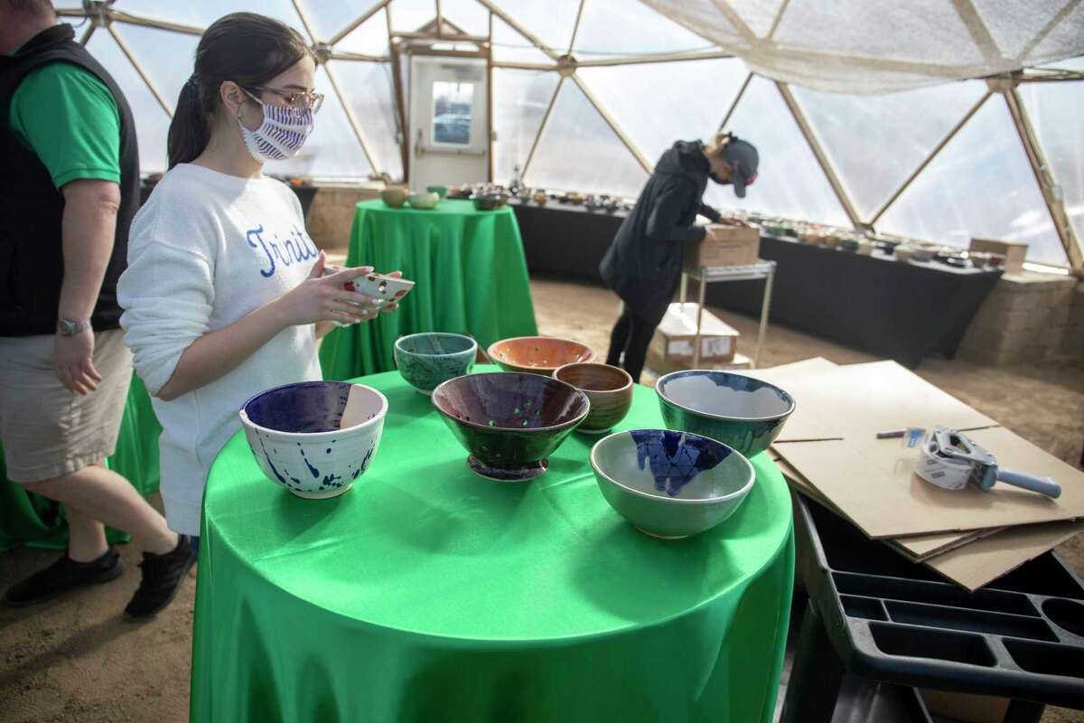 Volunteers prepare for West Texas Food Bank's Empty Bowls fundraiser event Saturday, Jan. 30, 2021, at the WTFB's Innovative Gardens. Jacy Lewis/ Reporter-Telegram