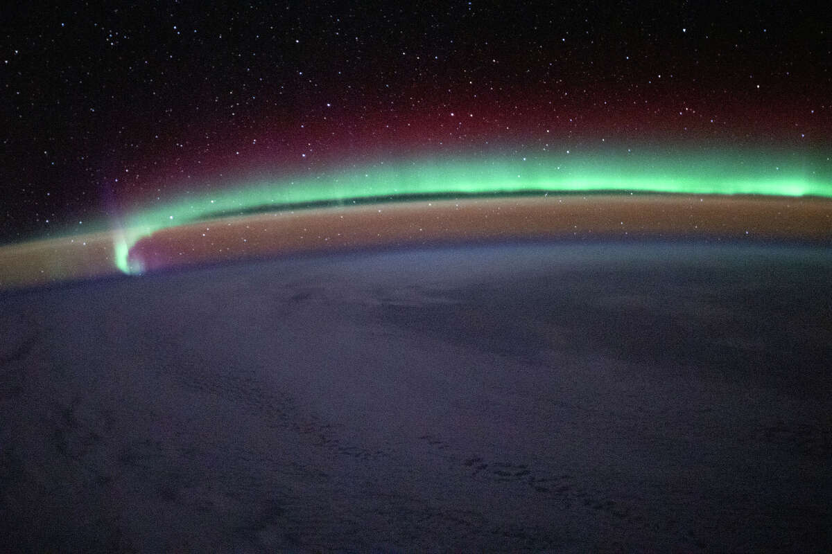 The aurora borealis, as seen from space.
