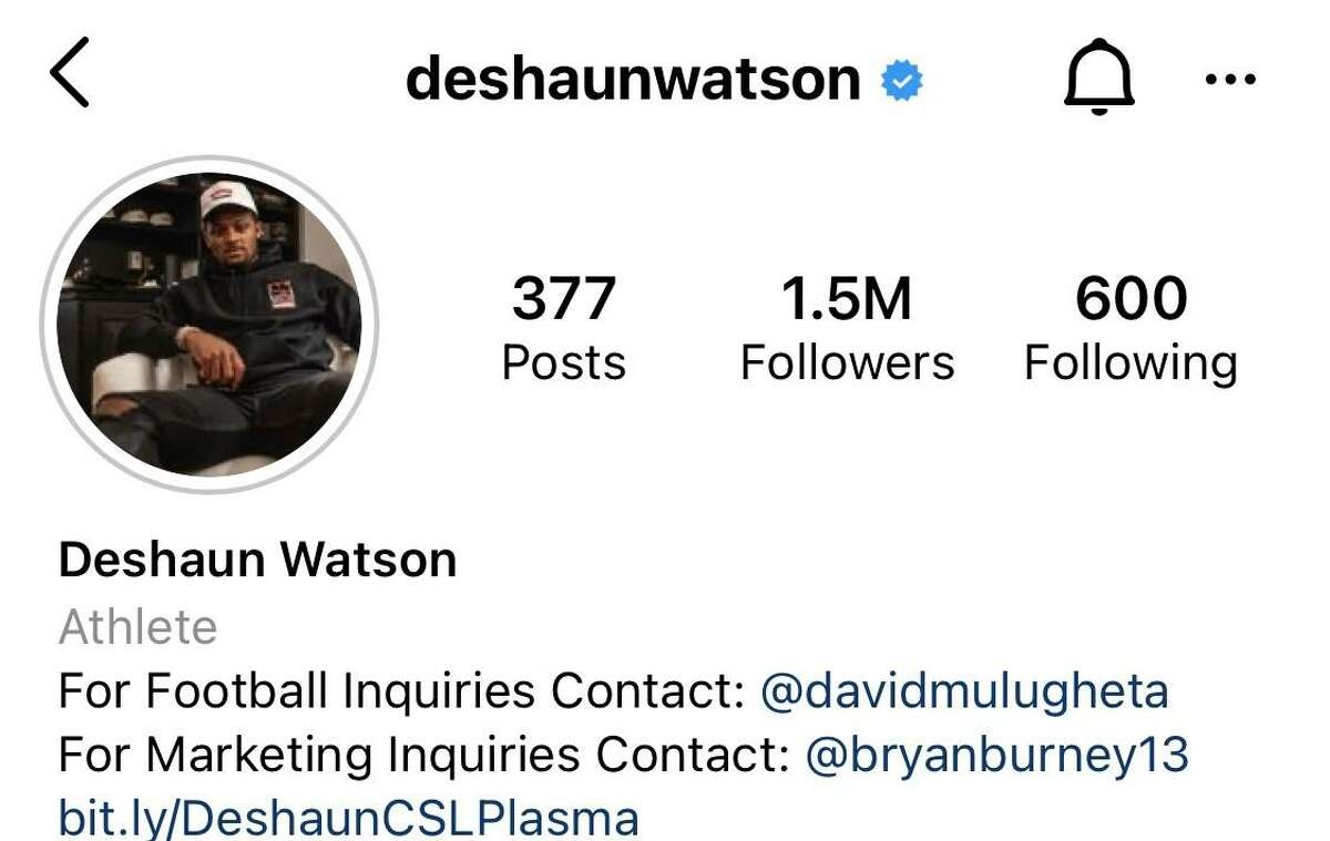 """Deshaun Watson's Instagram profile has been updated from a photo of him in a Texans uniform and lists him as an """"Athlete"""" instead of identifying as a Texans player."""