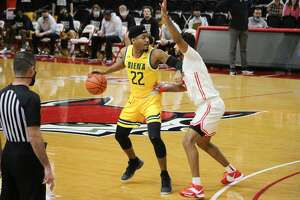 Siena's Jalen Pickett looks to make a move against Marist during a game against Marist on Saturday, Jan. 30, 2021.