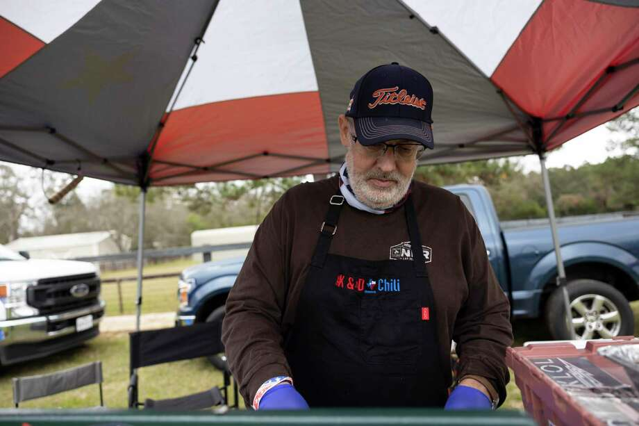 Don Cullum with K&D Chili prepares his specialty chili during a chili cookoff hosted by Boots For Troops, Saturday, Jan. 30, 2021, in Magnolia. Cullum, along with his wife Karen, travel around the country competing in chili competitions where they've placed numerous times. Photo: Gustavo Huerta, Houston Chronicle / Staff Photographer / Houston Chronicle © 2021
