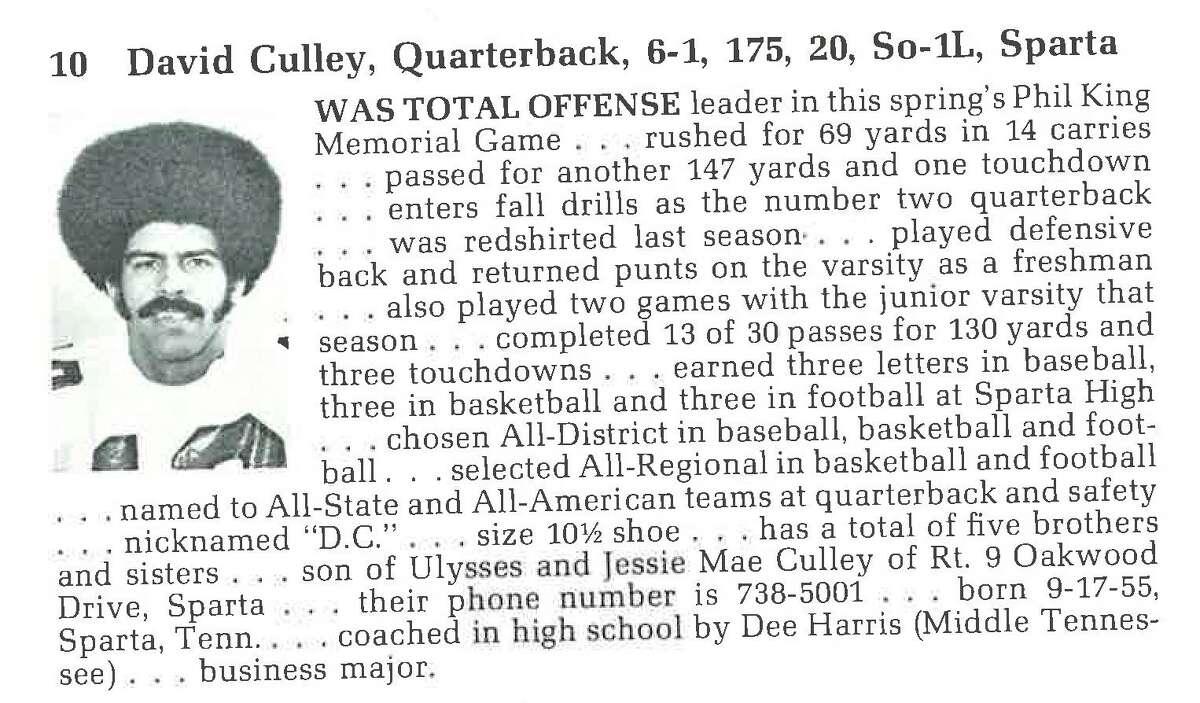 David Culley's sophomore season bio from the 1975 Vanderbilt football media guide.