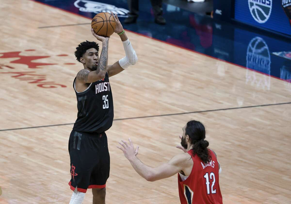 Houston Rockets center Christian Wood (35) shoots against the New Orleans Pelicans in the second quarter of an NBA basketball game in New Orleans, Saturday, Jan. 30, 2021. (AP Photo/Derick Hingle)