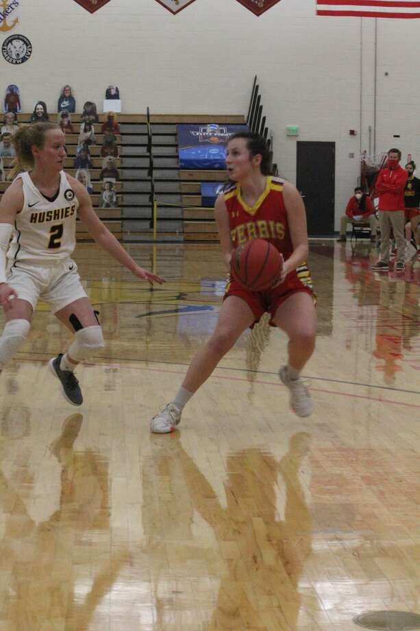 Ferris' women's basketball team overcomes early deficits to come back against Michigan Tech, but lost 63-55 on Saturday. Photo: John Raffel