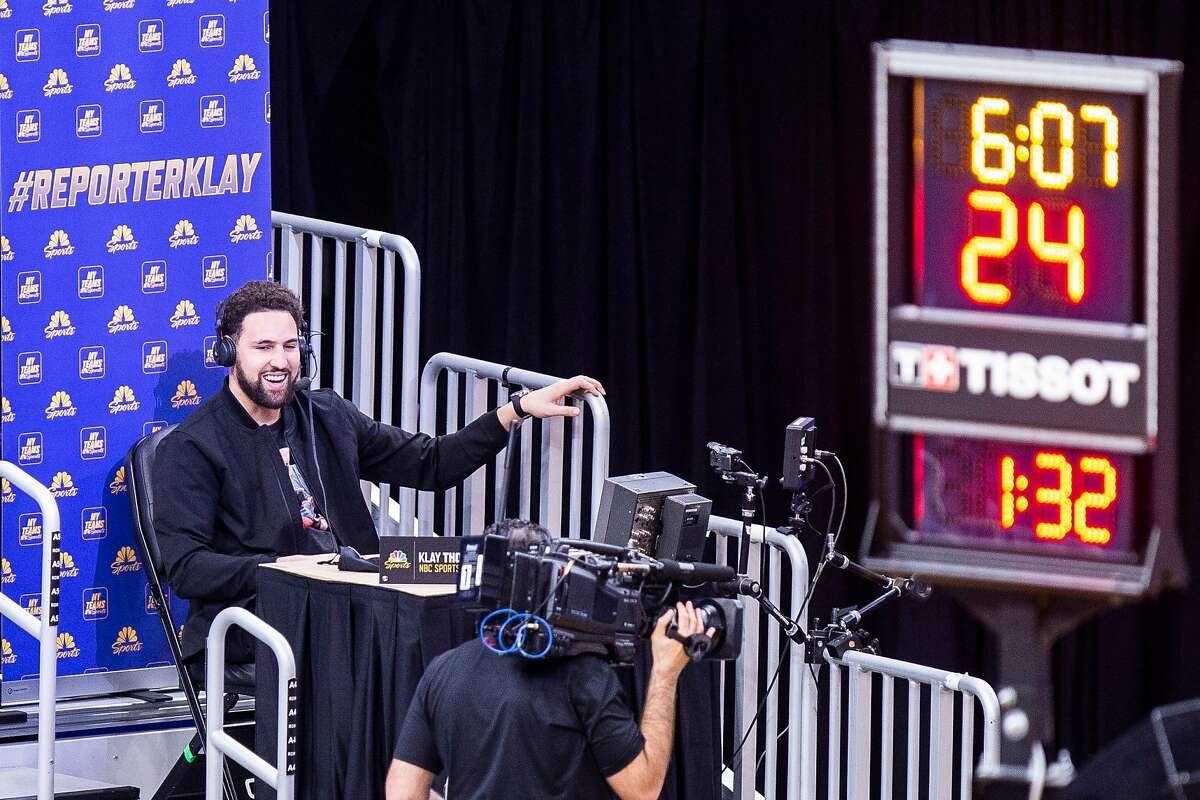 Golden State Warriors guard Klay Thompson as an NBC sports reporter in the third period of an NBA game against the Detroit Pistons at Chase Center on Saturday, Jan. 30, 2021, in San Francisco, Calif.