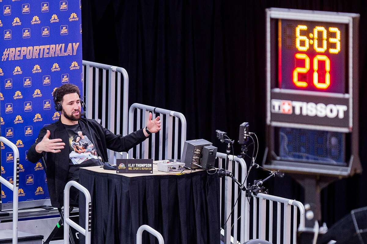 The Warriors' Klay Thompson, rehabbing from an Achilles injury, broadcast the third quarter.