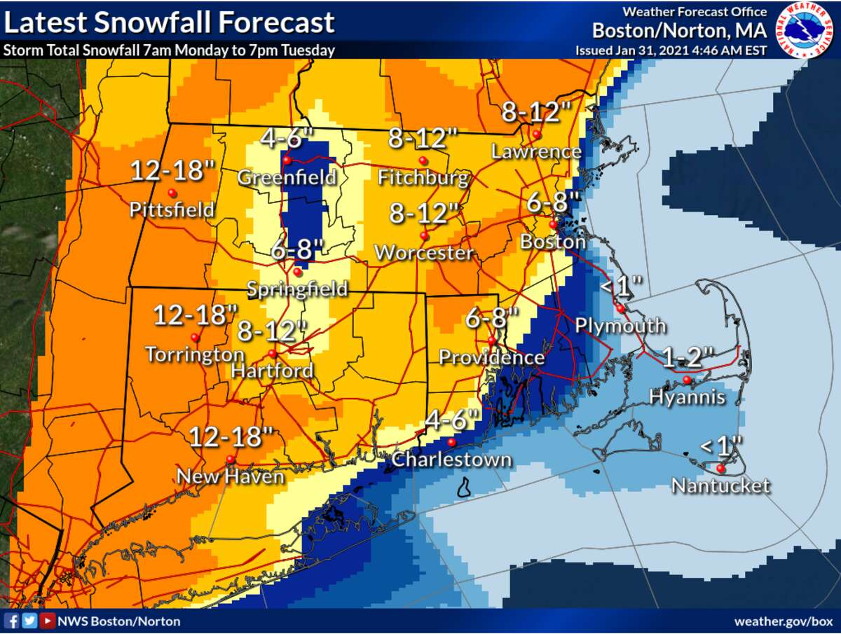 Snowfall predictions for Connecticut for February 1, 2021.