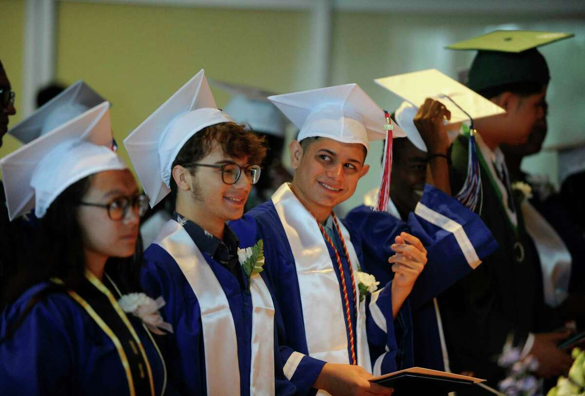 High School Seniors from Norwalk and Brien McMahon schools, who successfully completed their graduation requirements after attending summer classes, receive their high school diplomas during a Summer Graduation Ceremony at the Brien McMahon Center for Global Studies community room on Aug. 8, 2019 in Norwalk, Connecticut.