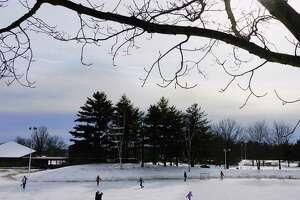 Children and adults skate at Elm Avenue Park on Sunday, Jan. 31, 2021, in Bethlehem, N.Y.   (Paul Buckowski/Times Union)