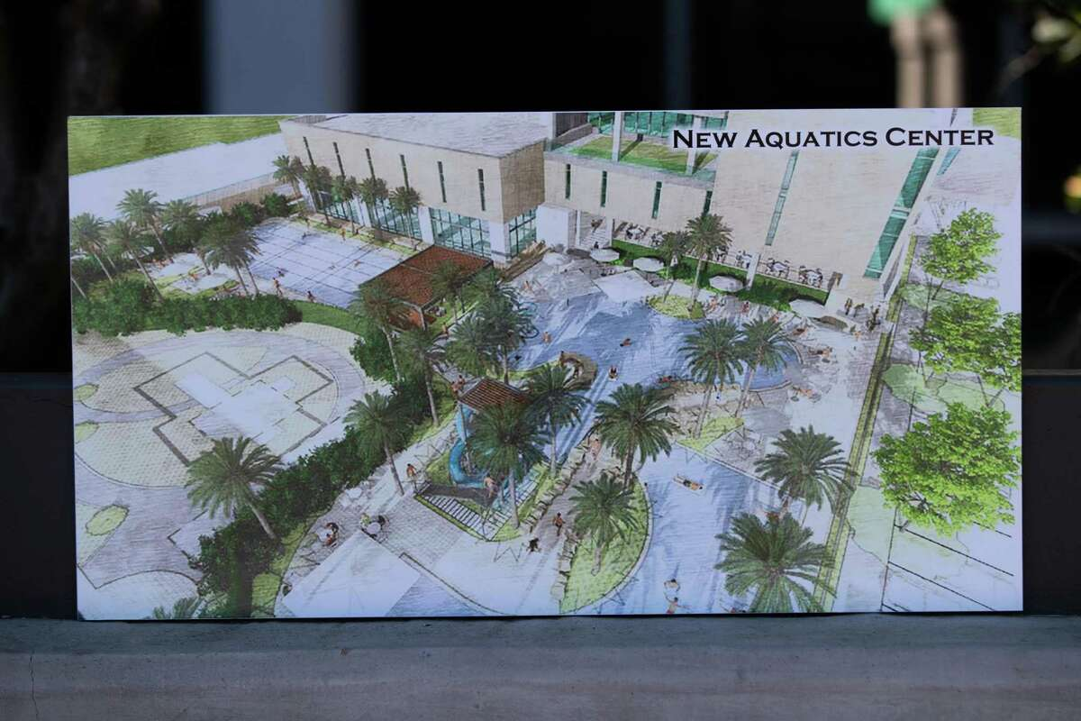 Photo of an illustration showing how the new Evelyn Rubenstein JCC Aquatics Center will look after the renovations are done, Sunday, Jan. 31, 2021, in Houston.