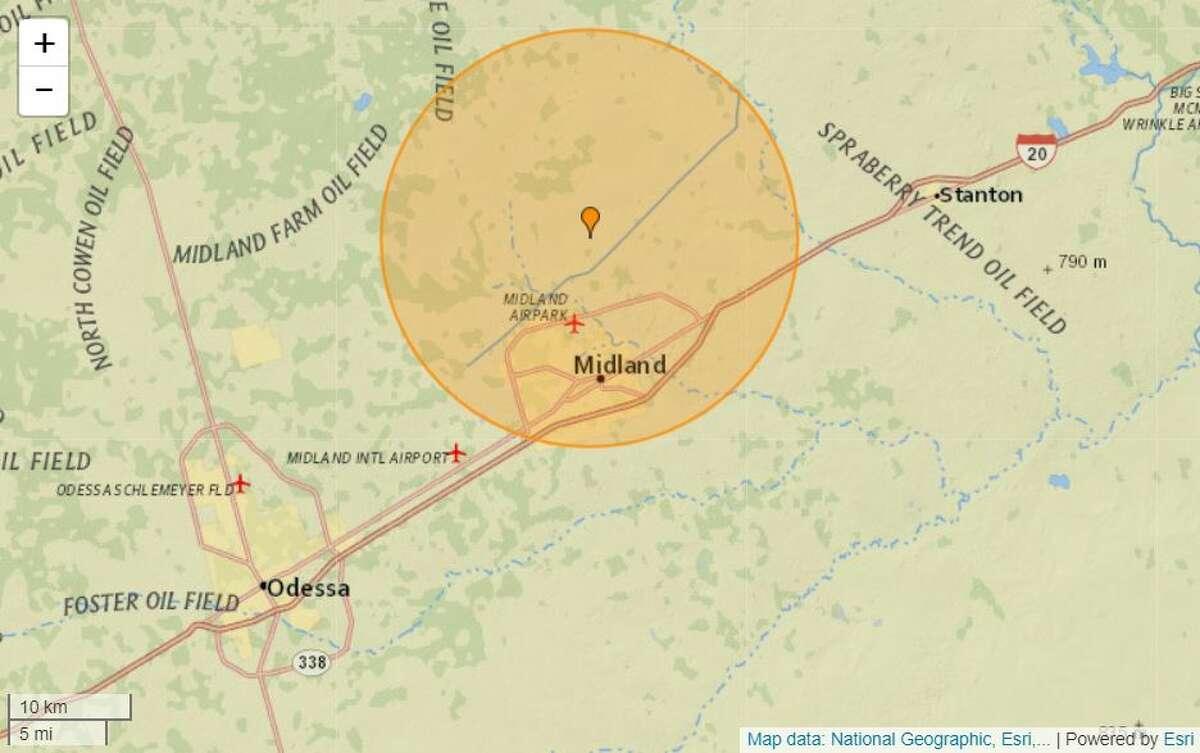 The US Geological Survey reported a 2.6-magnitude earthquake near Midland Sunday night.
