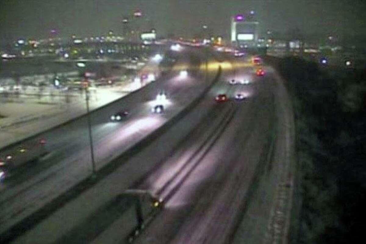 A screenshot of a CTDOT traffic camera view of Interstate 95 near Exit 27, Pembroke Street, in Bridgeport, Conn., on Monday, Feb. 1, 2021.