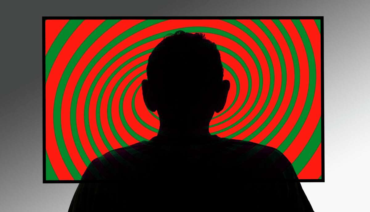 Person in front of swirly tv screen, illustration.