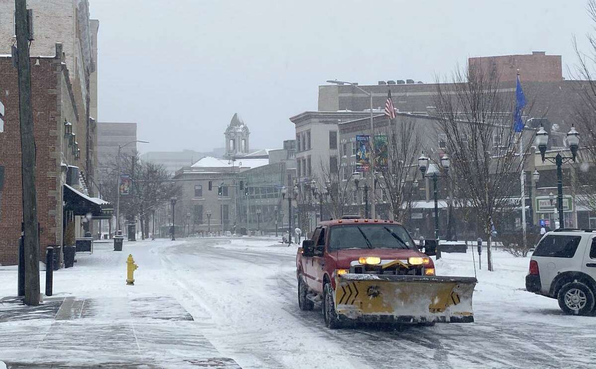 Downtown Stamford is covered in a layer of snow on Monday morning, Feb. 1, 2021.