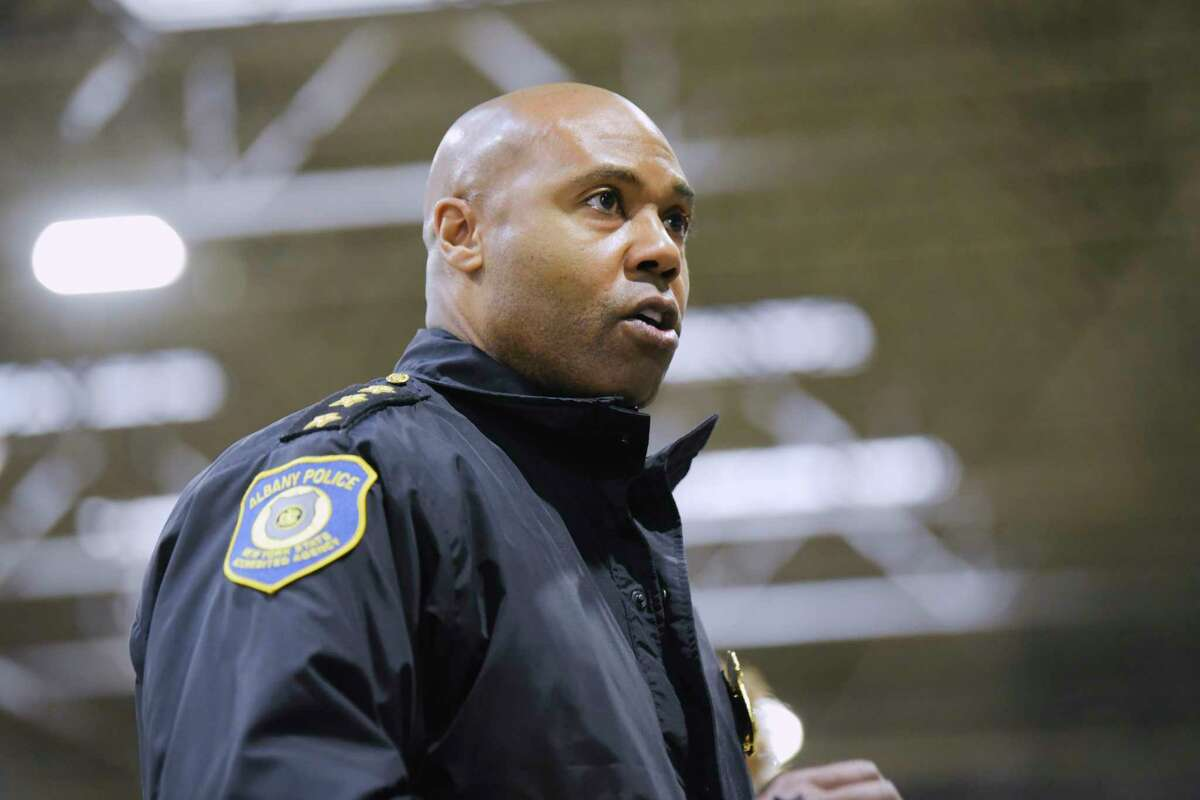 Albany Police Chief Eric Hawkins talks about the Saturday night shooting where five people were shot on Monday, Feb. 1, 2021, in Albany, N.Y. (Paul Buckowski/Times Union)
