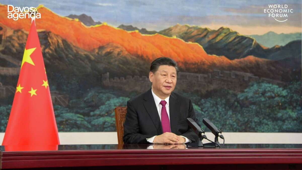 This video grab taken on January 25, 2021, from the website of the World Economic Forum shows China's President Xi Jinping speaking from Pekin as he opens an all-virtual World Economic Forum, which usually takes place in Davos, Switzerland.