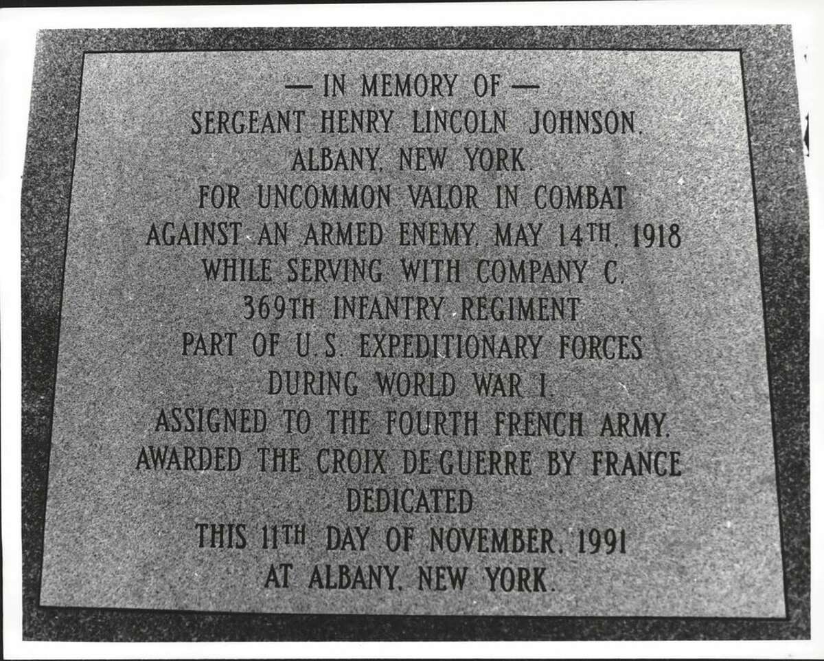 The inscription on the Henry Johnson monument seen after it was put in place on Oct. 30, 1991, in Washington Park at Willet Street and Madison Avenue in Albany. (Roberta Smith/Times Union)