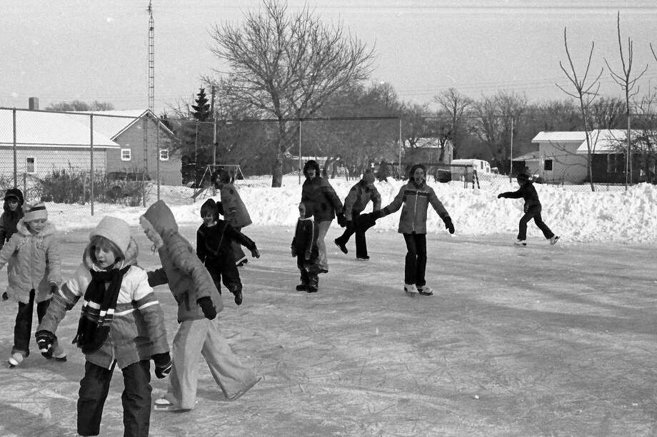 From the Feb. 2, 1981 issue of the News Advocate, these skaters decided the best way to celebrate February's debut was to be out gliding on the Parkdale skating rink, where they were found yesterday afternoon enjoying the outdoor exercise. (Manistee County Historical Museum photo)